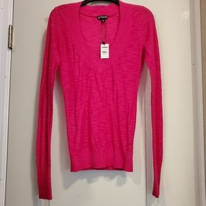 Express Purple V Neck Light Weight Long Sleeve XS